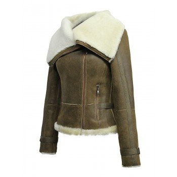 Ladies Women Short Fitted  Tan Biker Style Real Shearling Sheepskin-Gisa