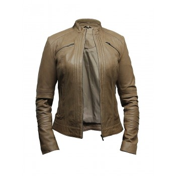 Women Taupe Leather Biker Jacket - Sophie