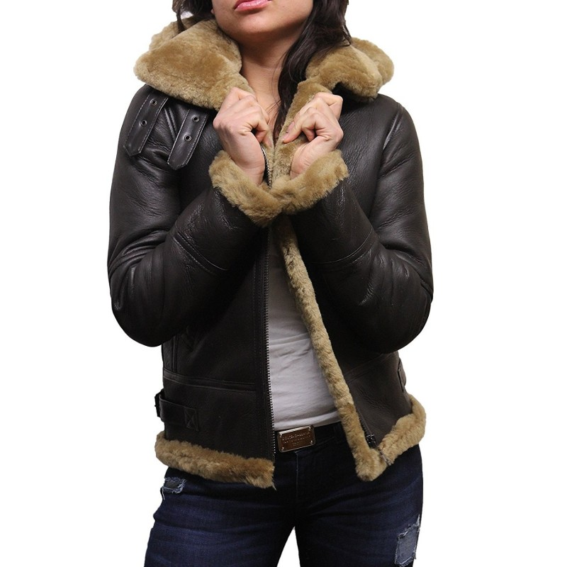 136ca3cb0 Women's Real Shearling Sheepskin Flying Aviator Leather Jacket ...