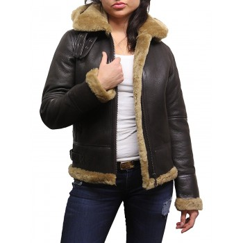 Women's Real Shearling Sheepskin Flying Aviator Leather Jacket Hooded - Ginger