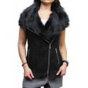 Women's Black Real Suede Luxurious Toscana Spanish Merino  Sheepskin Leather Gilet-Gina