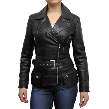 Ladies Women Stylish Black Leather Biker Jacket-Kate