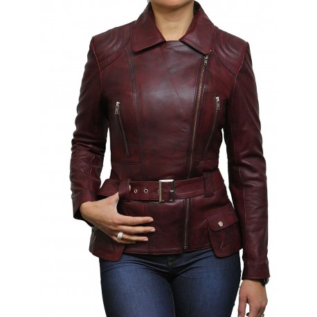 Ladies Women Stylish Burgundy Leather Biker Jacket-Kate