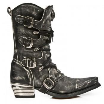 New Rock Men's Leather Black Stylish Boots M.7993-S3