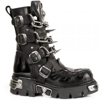 New Rock Unisex Black Stylish Boots -M 727 S1