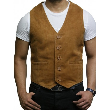 Mens Leather Tan Smart Waistcoat