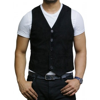 Mens Soft Real Goat Suede Leather Black Smart Waistcoat Vest