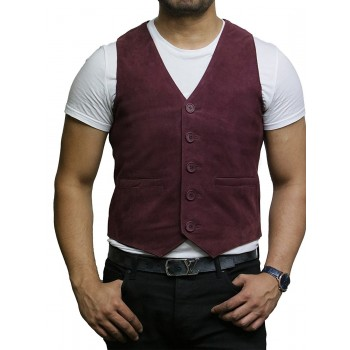 Mens Soft Real Goat Suede Leather Burgundy Smart Waistcoat Vest