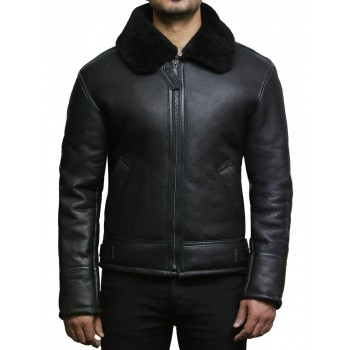 Men's Black Aviator B3 Real Shearling Sheepskin Leather Bomber Flying Pilot Jacket-Mark