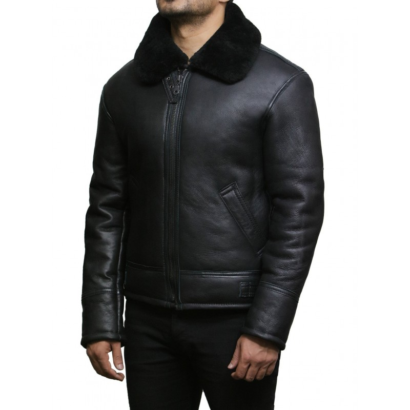 B3 Men/'s Genuine Aviator Fur Shearling Bomber Black Sheep Leather Men/'s Jacket