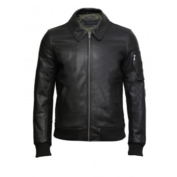 Brandslock Men's Black A2 Cowhide Aniline Leather Bomber Flying Jacket-Alvin