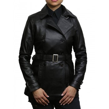 Women's Black Superior Leather Biker Jacket Coat Vintage Retro Design-Zoe