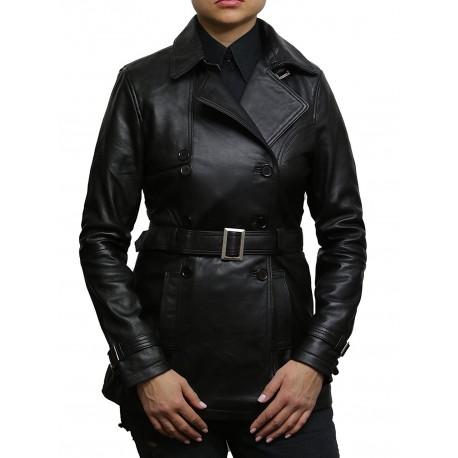 Women's Black Superior Leather Biker Jacket Coat Vintage Retro Design-Zoe