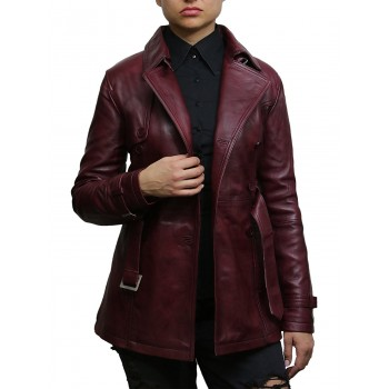 Women's Burgundy Superior Leather Biker Jacket Coat Vintage Retro Design-Zoe