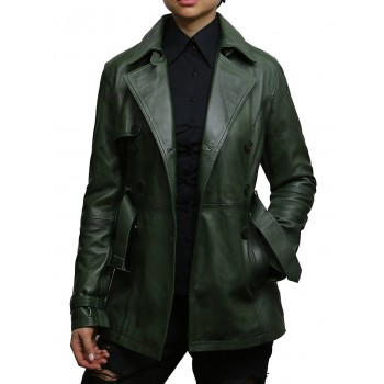 Women's Green  Superior Leather Biker Jacket Coat Vintage Retro Design-Zoe