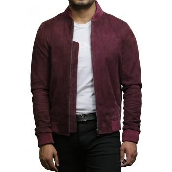 Mens Leather Jacket Vintage Retro Burgundy Goat Suede Jacket--Sonny
