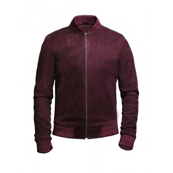 Mens Leather Jacket Vintage Retro Burgundy Goat Suede  Jacket--Sonny
