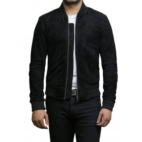 Mens Leather Jacket Vintage Retro Black Goat Suede  Jacket--Sonny
