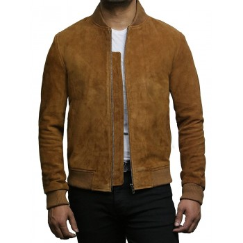Mens Leather Jacket Vintage Retro Tan Goat Suede  Jacket--Sonny