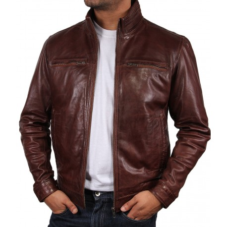 Men's Tan Leather Biker Jacket - Monaco