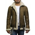 Brandslock Men's Aviator Real Shearling Sheepskin Leather Bomber Flying Jacket-Ben