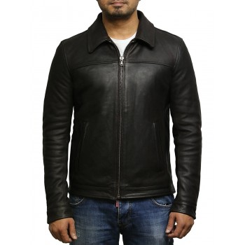 Men's Brown Cow hide Genuine Leather Harrington Brando Jacket-Rory