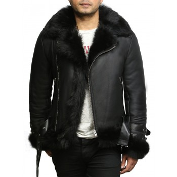 Men's Aviator Flying Jacket Real Shearling Sheepskin Toscana Flying Jacket Coat