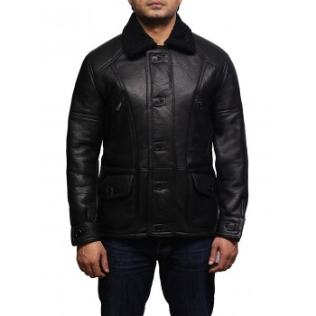 Men's Aviator Black B3 World War2 Style Real Shearling Sheepskin Flying Jacket-Jude