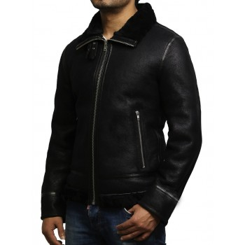 Mens Real Shearling Sheepskin Leather B3 Aviator Flying World War 2 Jacket-Arlo