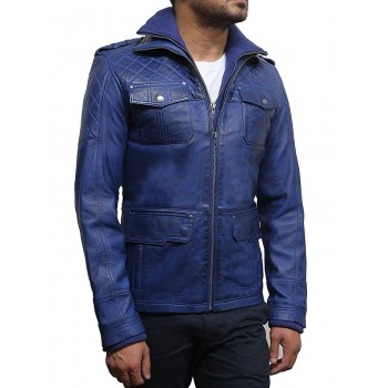Men's Blue Leather Bomber Jacket - Warwick