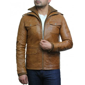 Men's Tan Leather Bomber Jacket - Warwick