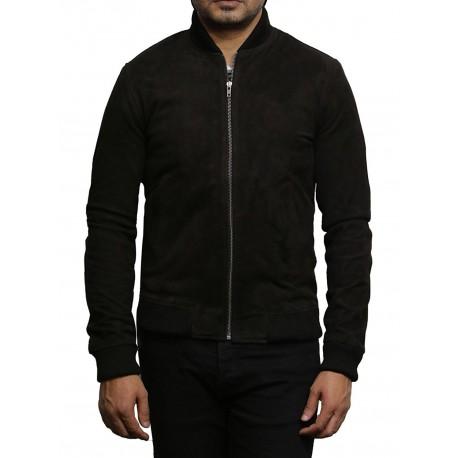 Mens Leather Jacket Vintage Retro Brown Goat Suede Jacket--Sonny