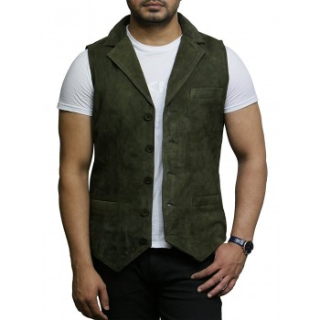 Mens Leather Waistcoat From Smooth Exclusive Goat Suede Classic Smart TanLeather Waistcoat