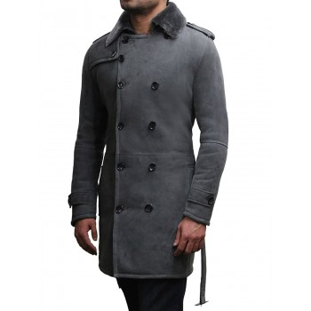 Men's Luxury Spanish Merino Fur Sheepskin Belted Pea Coat German Grey Long Duffle Coat Ideal For Winter Latest Design