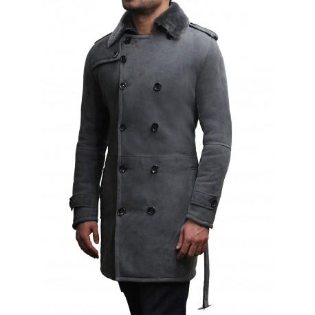 Men's Luxury Spanish Merino Fur Sheepskin Belted Pea Coat German Grey Long Duffle Coat Ideal For Winter Latest Design