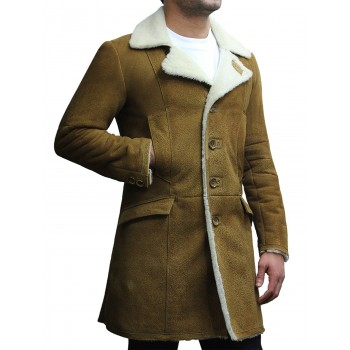 Men's Luxury Spanish Merino Fur Sheepskin Belted Pea Coat German Long Duffle Coat