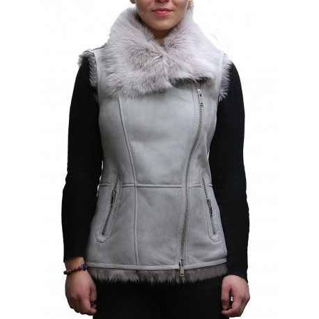 Women's GREY Real Suede Luxurious Toscana Spanish Merino  Sheepskin Leather Gilet-Gina