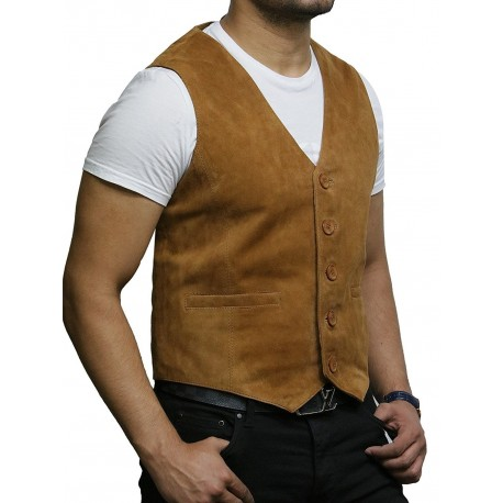 Mens Leather Tan Smart Waistcoat