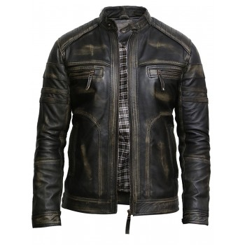 Men's Black Warm Leather Biker Jacket Vintage Retro Distressed Leather Jacket
