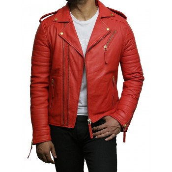 Mens Red Leather Jacket Premium Lamb Skin Brando