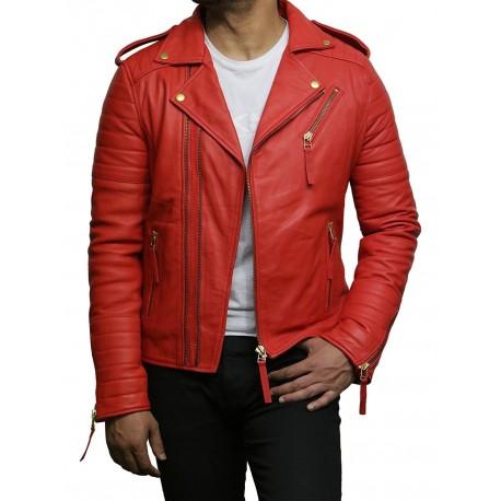 Mens Red Leather Jacket Premium Lamb Skin Brando