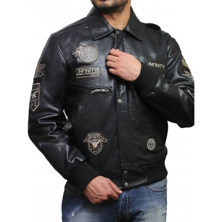 Men's Black Cow Hide Leather Flight Bomber Jacket with Detachable Collar