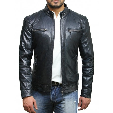 first rate entire collection bottom price Men's Navy Stylish Lambskin Real Biker Leather Jacket