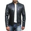 Men's Navy Lambskin Genuine Leather Biker Jacket