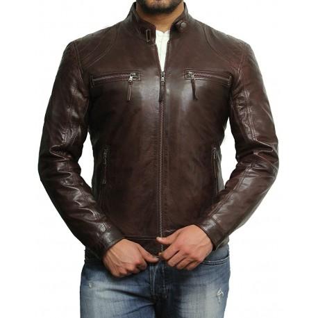 Men's Brown Lambskin Genuine Leather Biker Jacket