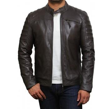 Vintage BROWN Mens Leather Biker Jacket