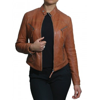 fe4255466 Vintage Womens real Leather Biker Jacket...