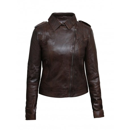 Women Brown Leather Biker Jacket -Haven