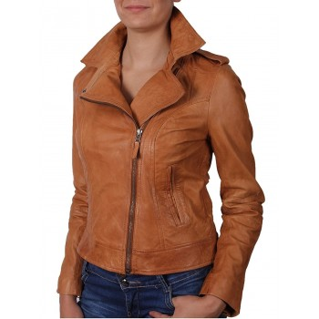 Women Tan Leather Biker Jacket -Haven