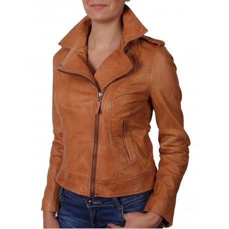 Women Tan Leather Biker Jacket -Haven